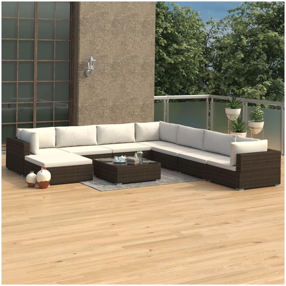 Cuscini Su Divano Marrone vidaxl set divani da giardino 9 pz con cuscini in polyrattan marrone