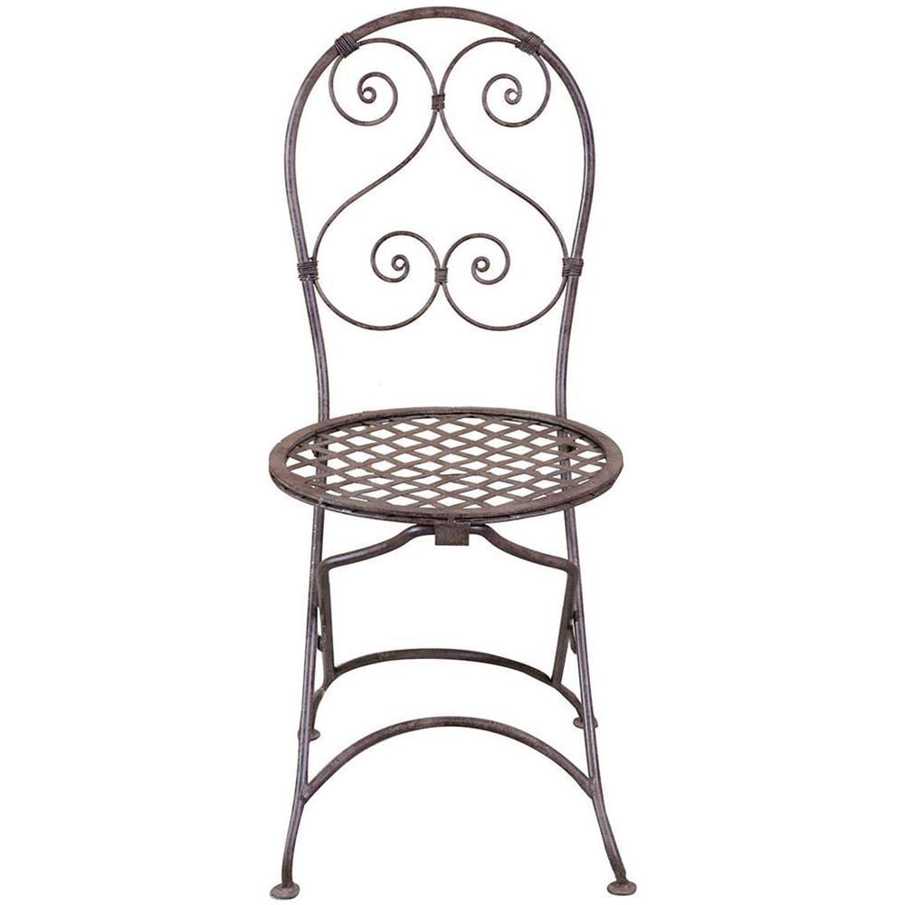 Sedie Pieghevoli In Ferro Battuto.Biscottini Sedia Pieghevole In Ferro Battuto Pineo Finitura Ruggine Anticata 40x45x94 Cm