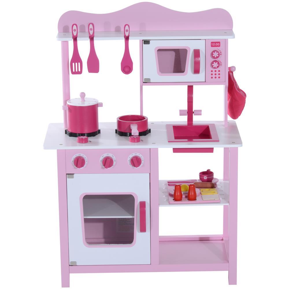 Cucine Giocattolo In Legno Usate.Homcom Cucina Giocattolo Per Bambini In Legno Rosa 60x30x84 5cm