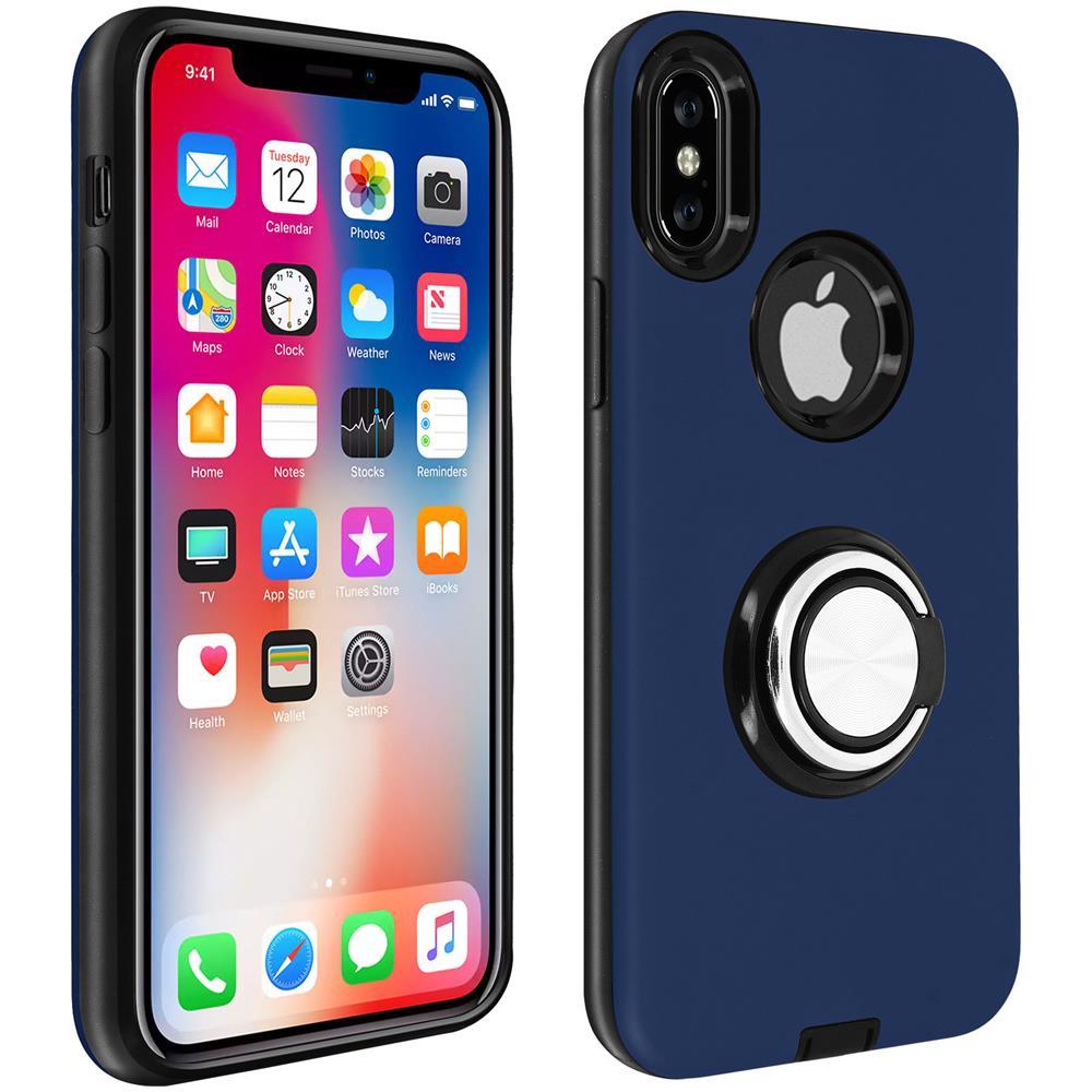 Avizar Cover Apple Iphone X / Xs Bimateria Anello Finitura Metallizzata Blu