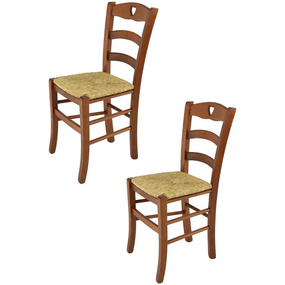 Modelli Sedie Per Cucina.T M C S Tommychairs Set 2 Sedie Modello Cuore Per Cucina Bar E Sala Da Pranzo Robusta Struttura In Legno Di Faggio Color Noce Chiaro E Seduta In Paglia Eprice