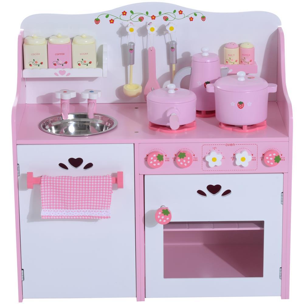 HomCom - Cucina Giocattolo Per Bambini In Legno Con Accessori, Rosa ...