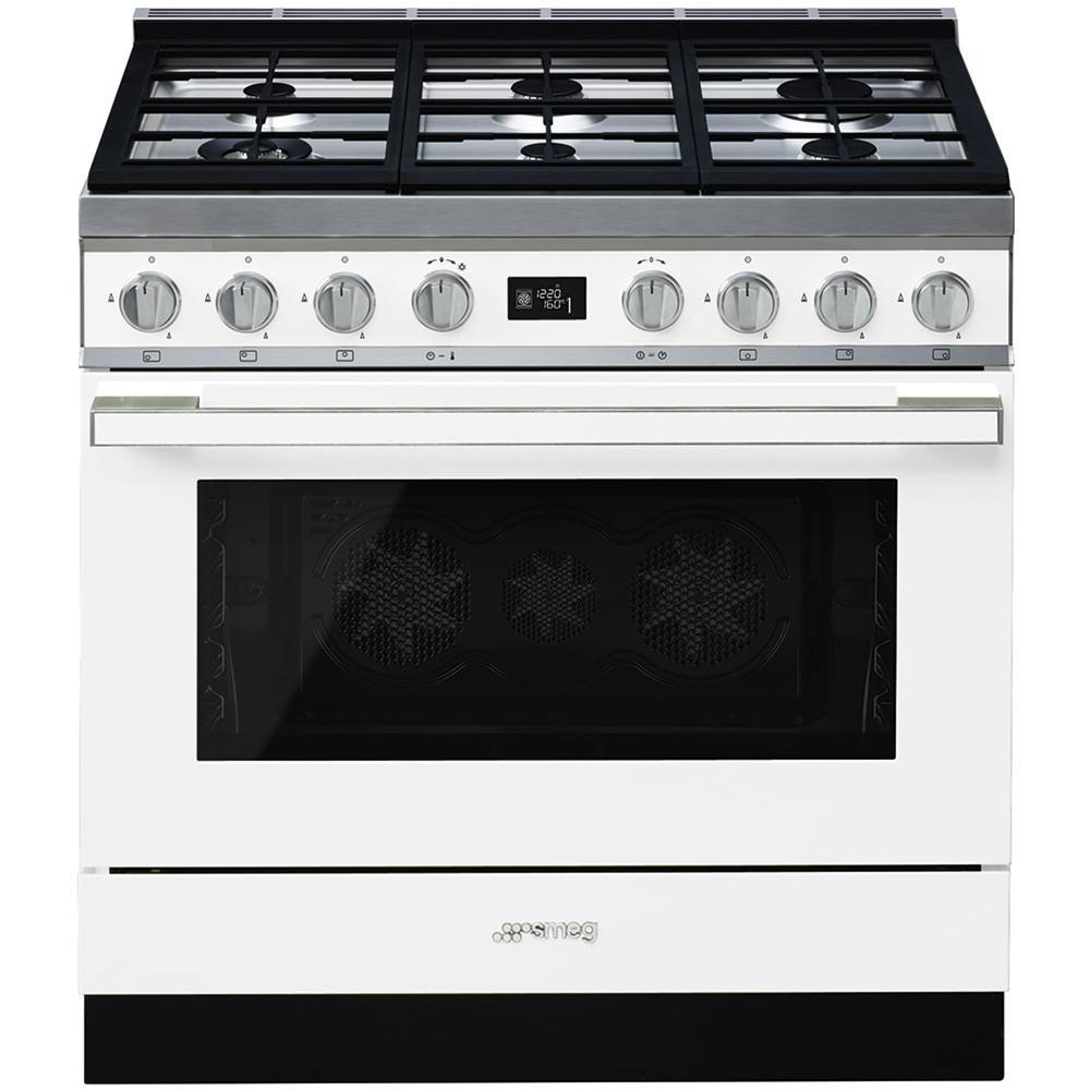 SMEG - Cucina Elettrica CPF9GMWH 6 Fuochi a Gas Forno Elettrico ...