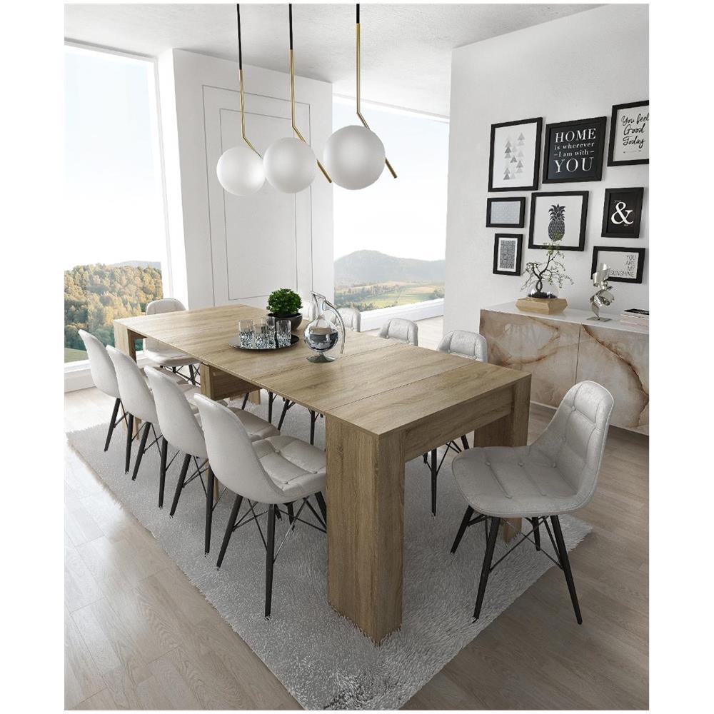 COMFORT Home Innovation - Tavolo Consolle Per Sala Da Pranzo E Soggiorno,  Rettangolare, Allungabile Fino A 237 Cm, Colore Rovere Chiaro, Fino A 10 ...