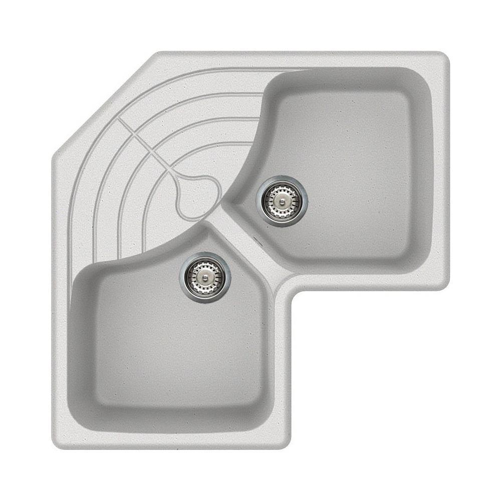 Lavelli Ad Angolo Misure elleci serie zen master lavello angolo 2 vasche con gocciolatoio dimensioni  83 x 83 cm colore alluminio