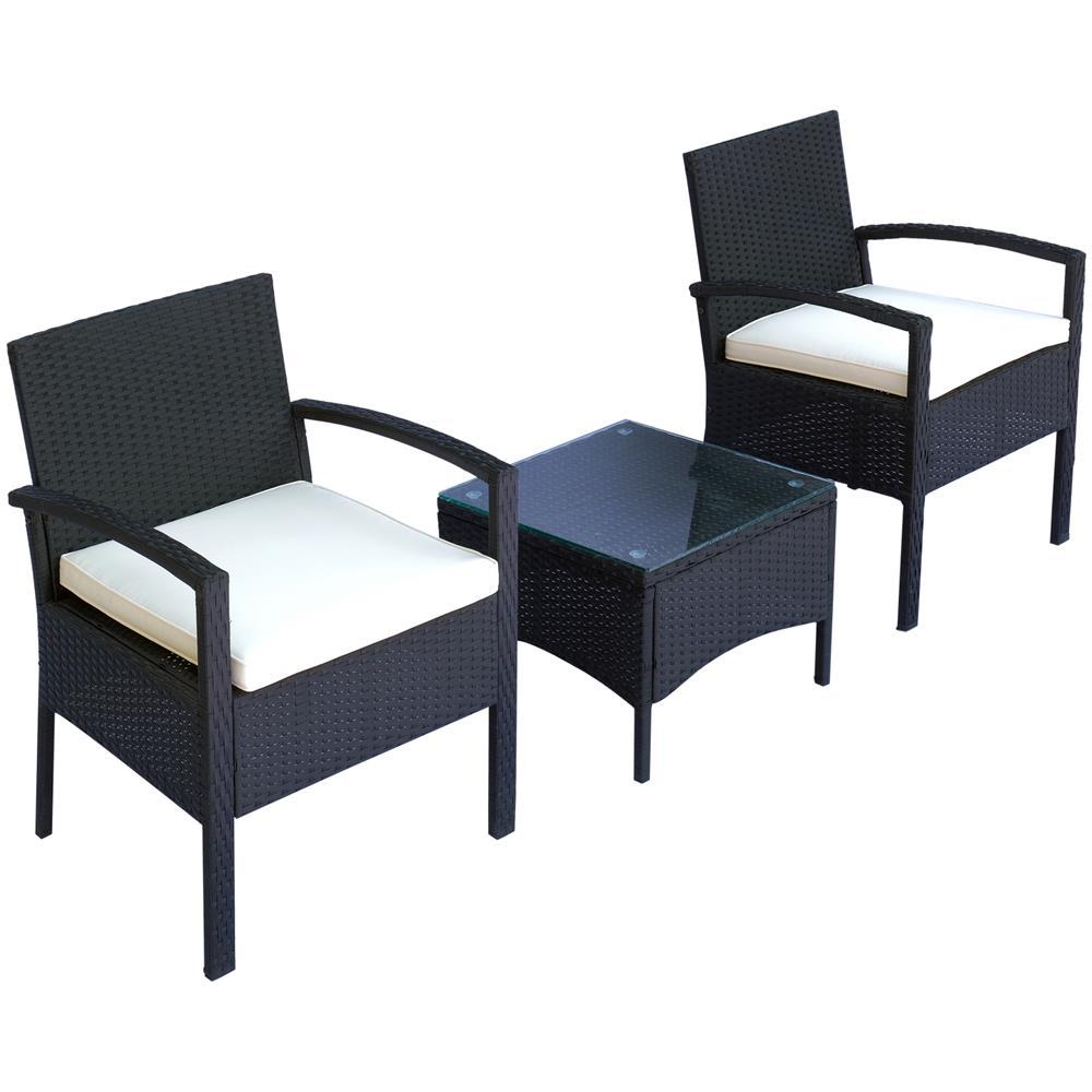 Tavolino Rattan Da Giardino.Outsunny Set Mobili Da Giardino 2 Poltroncine E Tavolino Con