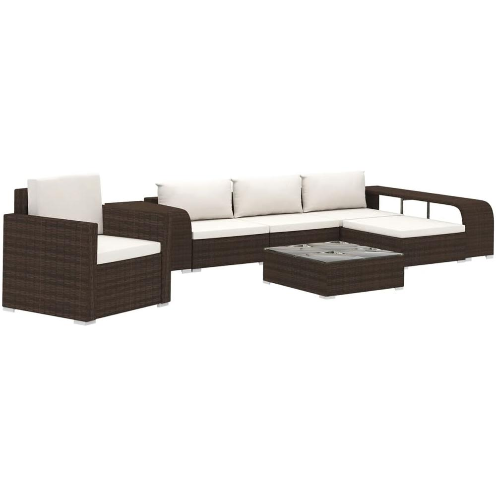 Cuscini Su Divano Marrone vidaxl set divani da giardino 8 pz con cuscini in polyrattan marrone