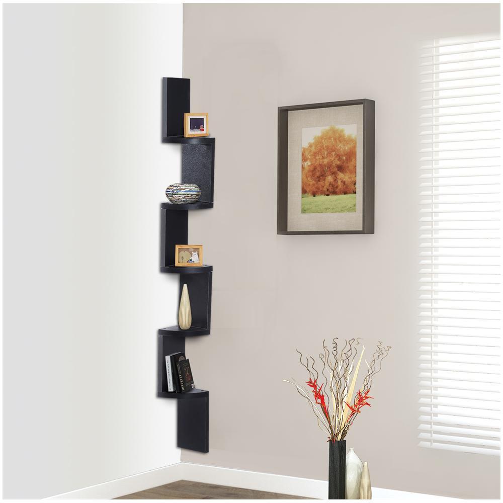Mensole Da Muro In Legno.Homcom Moderna Libreria Da Parete Con Mensole In Legno Mdf Nero 12x12x120cm