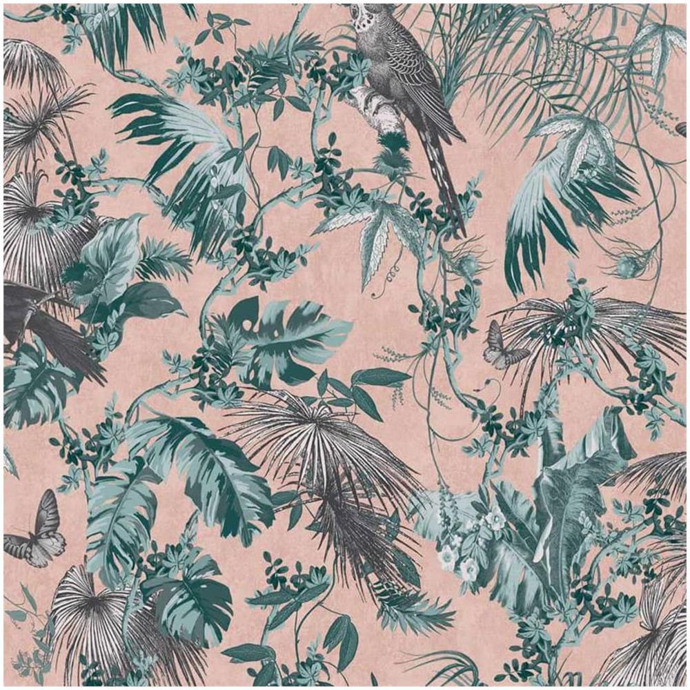 Carta Da Parati Immagini dutch wallcoverings carta da parati foglie e uccelli verde e rosa