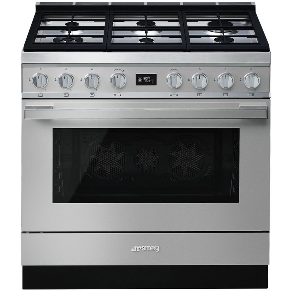 SMEG - Cucina Elettrica CPF9GPX 6 Fuochi a Gas Forno Elettrico ...