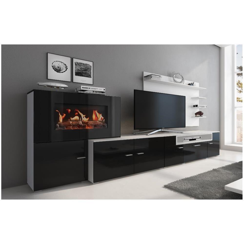Mobile Tv Con Camino innovation mobili da soggiorno con camino elettrico a 5 livelli di fiamme,  finitura bianco mate e nero laccato, misure: 290 x 170 x 170 x 45 cm di