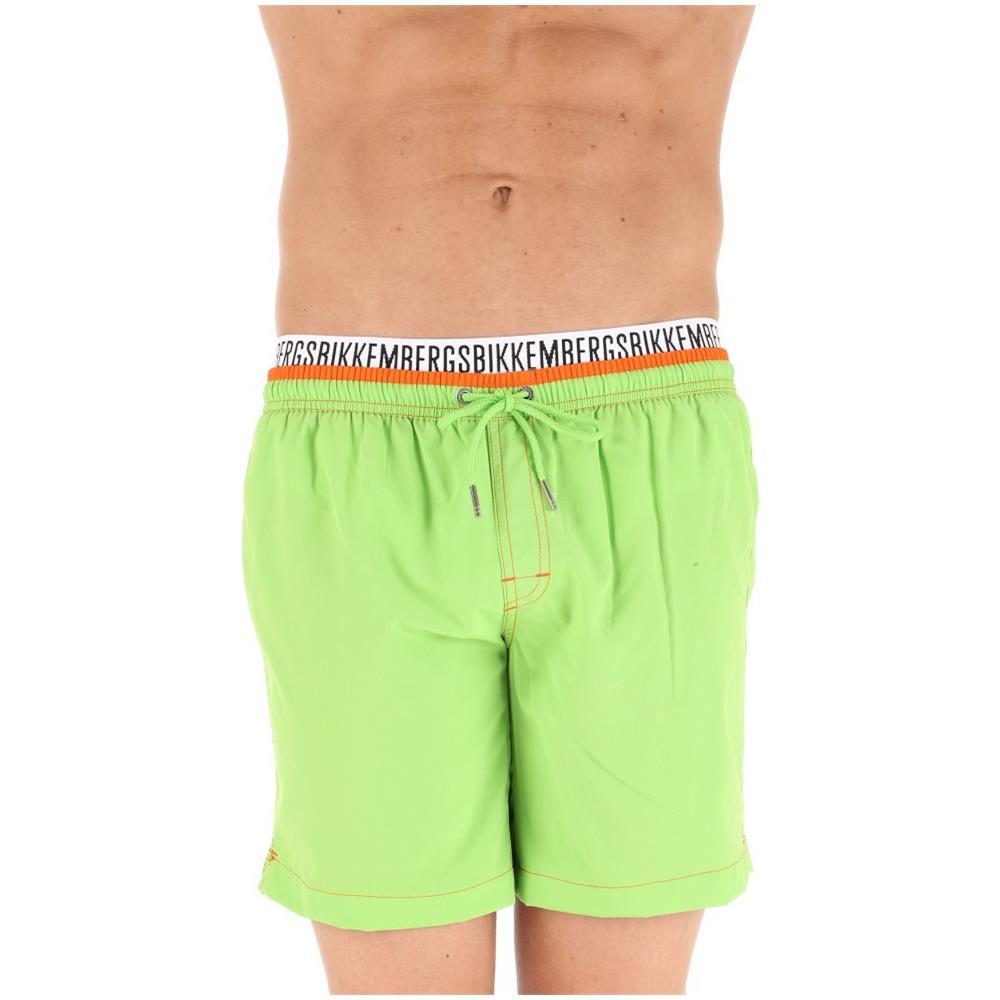 Bikkembergs Costume Mare Uomo Boxer Pantaloncino Lungo Vita Elastica Verde Uomo: Abbigliamento