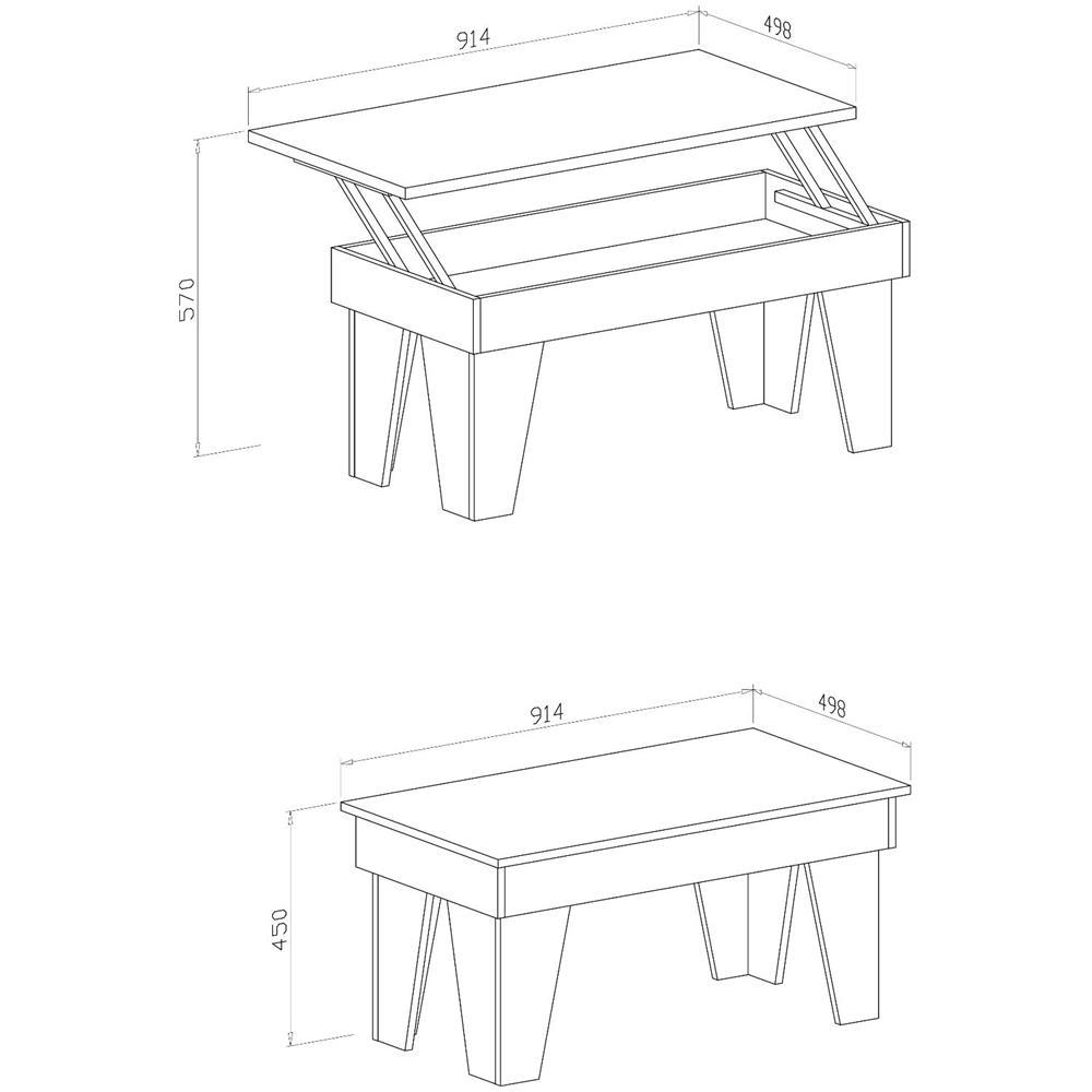 Dimensioni Tavolo Sala Da Pranzo innovation tavolino sollevabile, sala da pranzo, modello kl, bianco opaco,  misure 92x50x45/57 cm di altezza