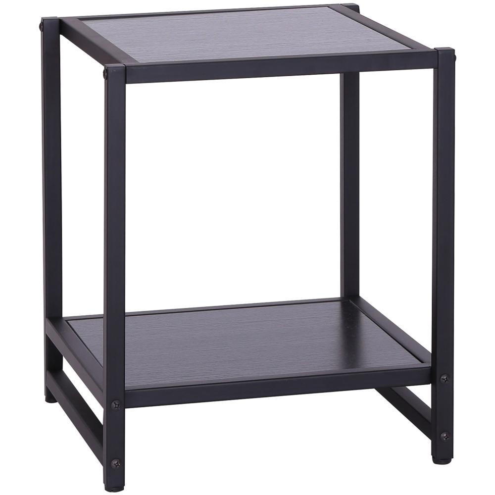 Tavolino Due Ripiani.Homcom Tavolino Per Soggiorno A Due Ripiani In Legno Mdf Nero 38x38x45 7cm