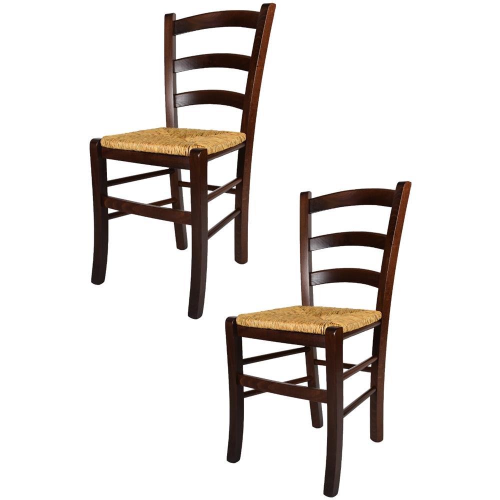 Modelli Sedie Per Cucina.T M C S Tommychairs Set 2 Sedie Modello Venezia Per Cucina Bar E Sala Da Pranzo Robusta Struttura In Legno Di Faggio Color Noce Scuro E Seduta In Paglia Eprice
