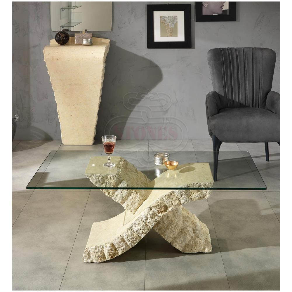 STONES Tavolino Da Salotto. Top Vetro 10 Mm. Fl Xenon Salotto
