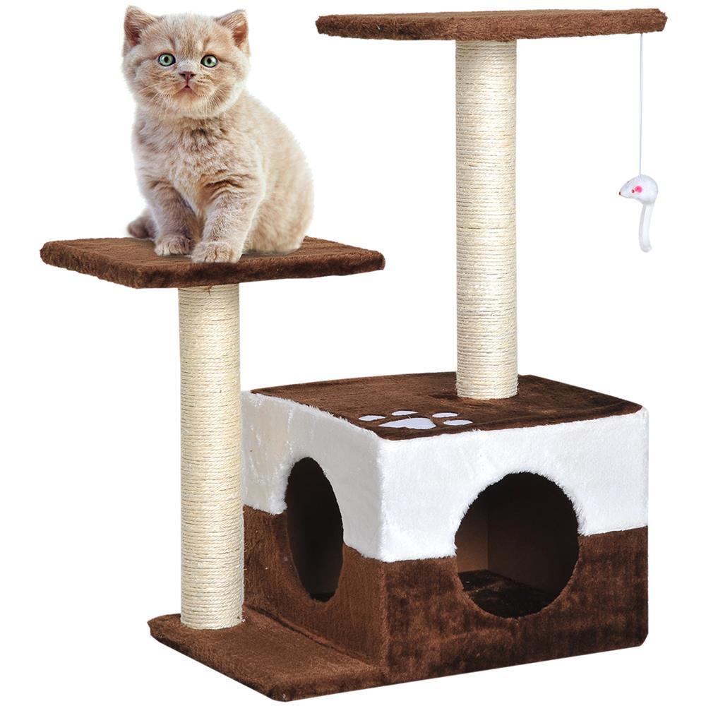 Costruire Cuccia Per Gatti pawhut albero tiragraffi per gatti con topolino appeso in peluche marrone  45x33x70cm