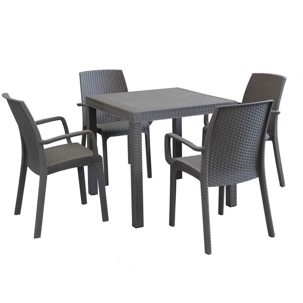 Sedie E Tavoli Da Esterno.Milanihome Set Tavolo Da Giardino Quadrato Fisso Cm 80 X 80 Con
