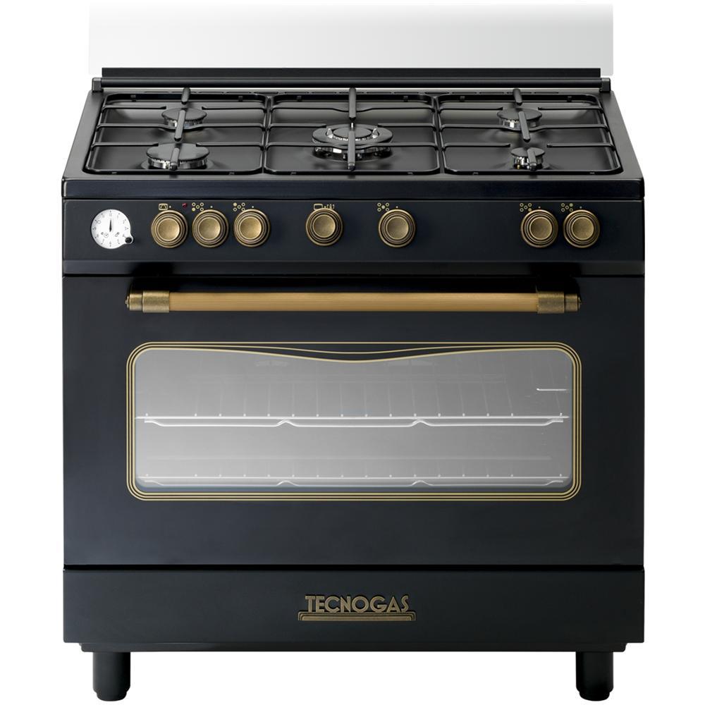 TECNOGAS D965GVN Cucina A Gas 5 Zone Cottura Con Forno A Gas Dimensione 90  X 60 Cm Colore Nero Matt