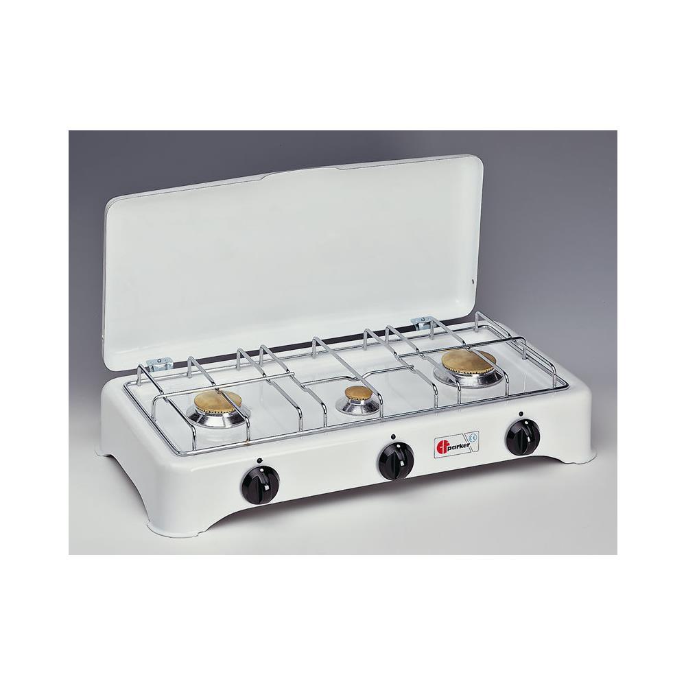 vente chaude en ligne gamme complète de spécifications collection entière PARKER Fornello 3 Tre Fuochi A Gas Metano Griglie Inox Da Campeggio E Casa