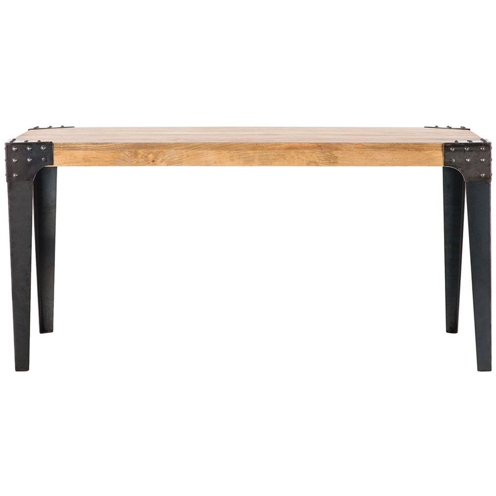 Tavoli In Acciaio E Legno.Miliboo Tavolo Da Pranzo Industriale In Acciaio E Legno L160