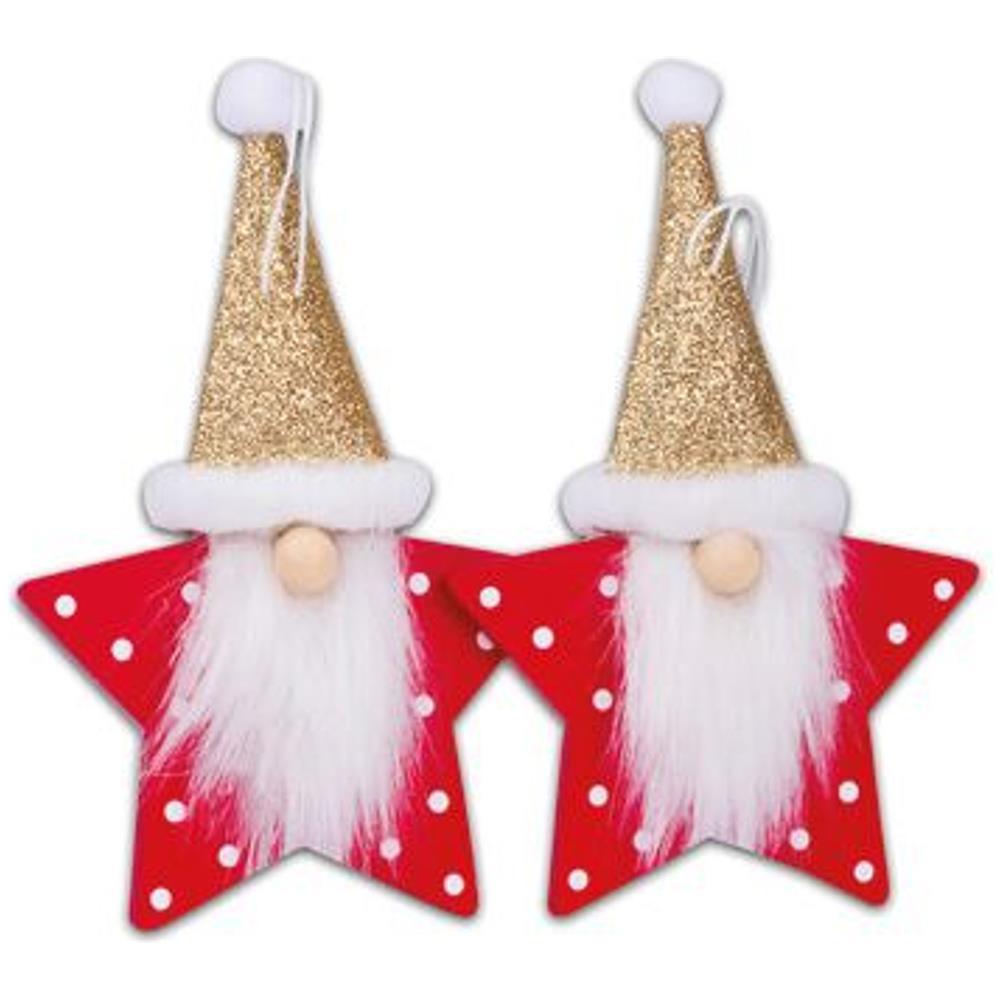Babbi Natale.Jadeo Artifetes 2 Babbi Natale Da Sospendere Stella Con Paillettes Eprice