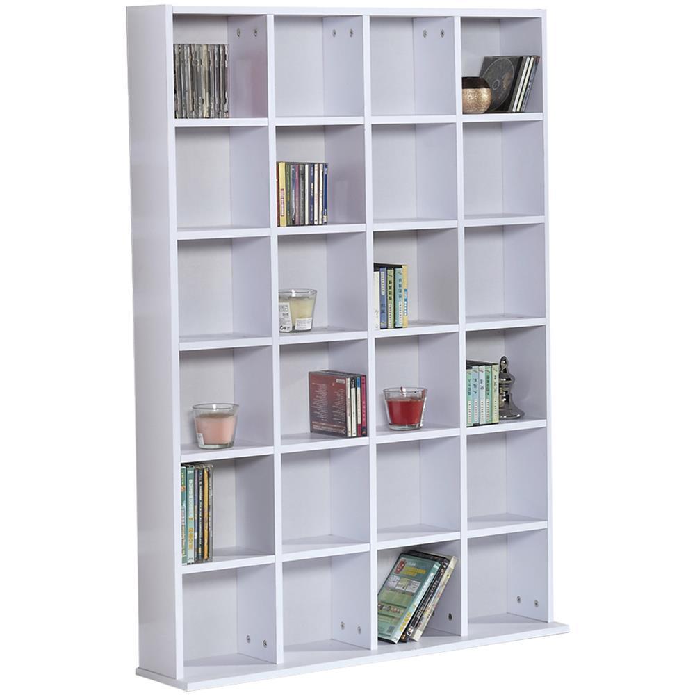 Mobile Libreria In Legno.Homcom Mobile Libreria In Legno 24 Scomparti Bianco 130 5x89x20cm