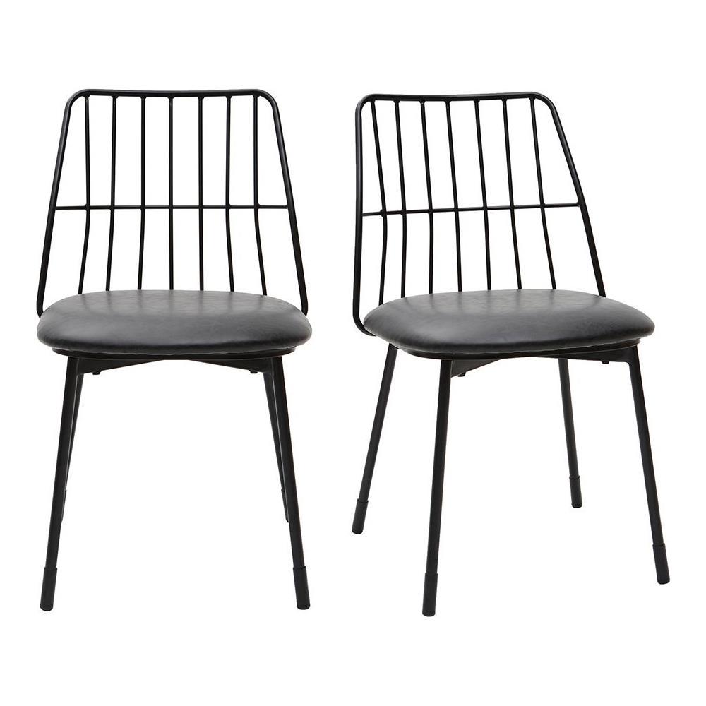 miliboo Gruppo Di 2 Sedie Design In Metallo Nero Con Cuscino Grid
