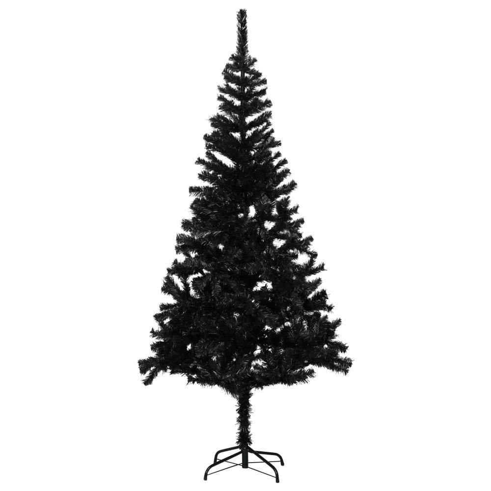 Albero Di Natale Nero.Vidaxl Albero Di Natale Artificiale Con Supporto Nero 213 Cm Pvc Eprice