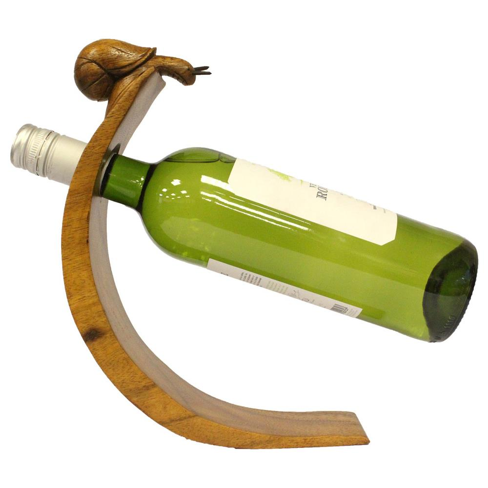 Le fantasie di casa Porta Bottiglie In Legno Suar Wood Indonesiano Intagliato A Mano Lumaca. Ideali Per Esporre E Conservare Bottiglie Di Ottimo Vino,