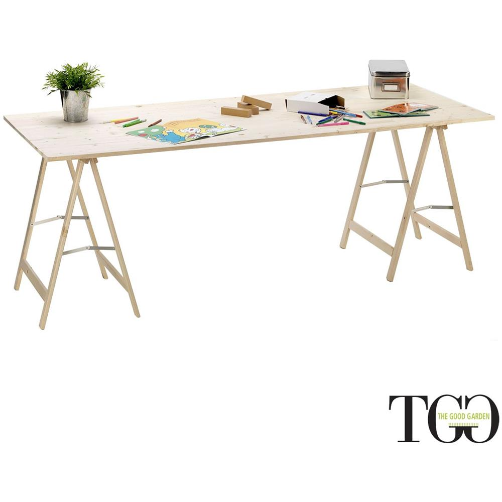 Thegoodgarden Piano Tavolo In Legno Topexpress M Con Cavalletti 200 X 80 Cm Eprice