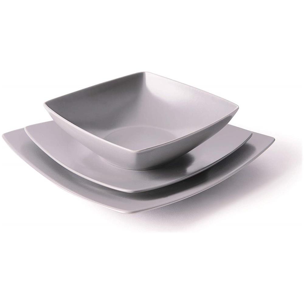 Bianco 18 Pezzi Ceramica Excelsa Eclipse Servizio di Piatti quadrati