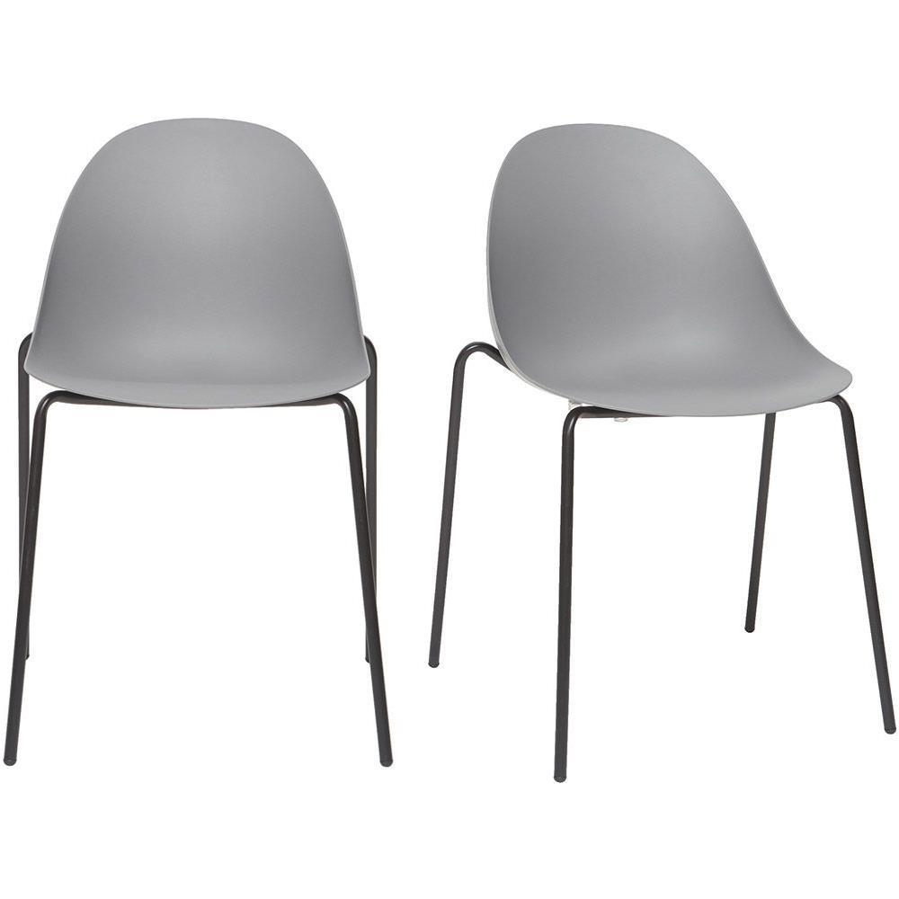 Sedie A Forma Di Sedere Costo miliboo gruppo di 2 sedie impilabili design grigie piedi metallo concha