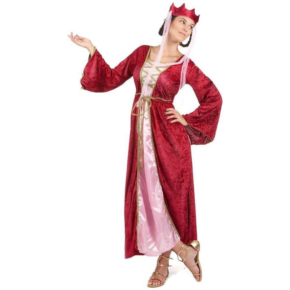 JADEO - Costume Da Donna Regina Medievale Rosso Medium - ePRICE 3c06ce72df2
