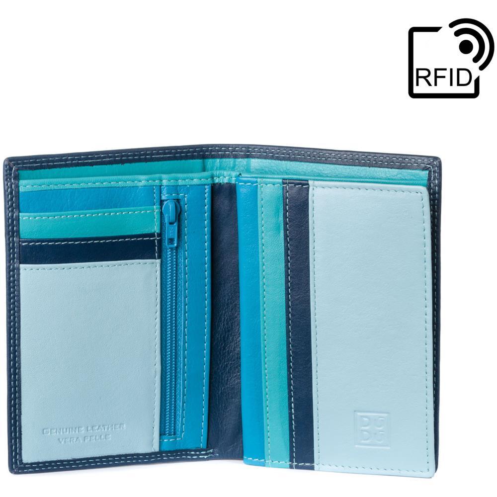 5ee66aa779 DuDu - Portafoglio Uomo Verticale A Libro In Vera Pelle Multicolore Con  Cerniera Lampo Zip E Porta Carte Blu - ePRICE