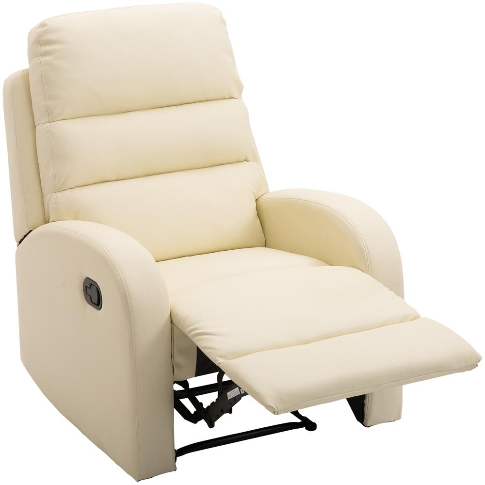 Poltrona Relax Poggiapiedi.Homcom Poltrona Relax Reclinabile Con Poggiapiedi In Ecopelle Crema