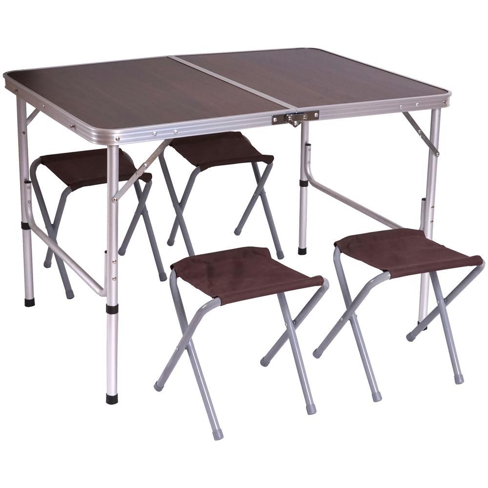 Tavolo Sedie Campeggio.Mendler Tavolino Da Campeggio Pieghevole Con 4x Sedie T368 Alluminio Mdf 70x100x67cm