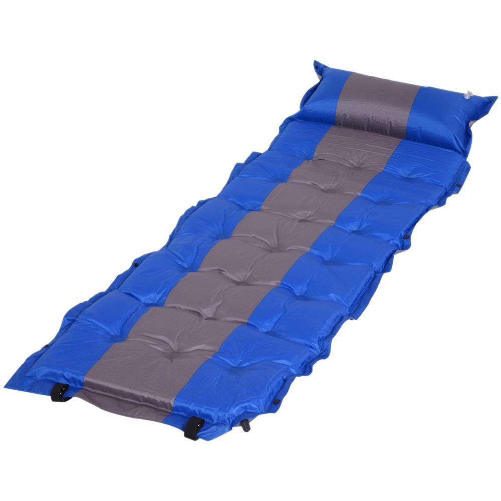 Campeggio Materassino Gonfiabile.Outsunny Materassino Gonfiabile Da Campeggio Con Cuscino Ergonomico In Pvc Blu E Grigio 191x63x5cm
