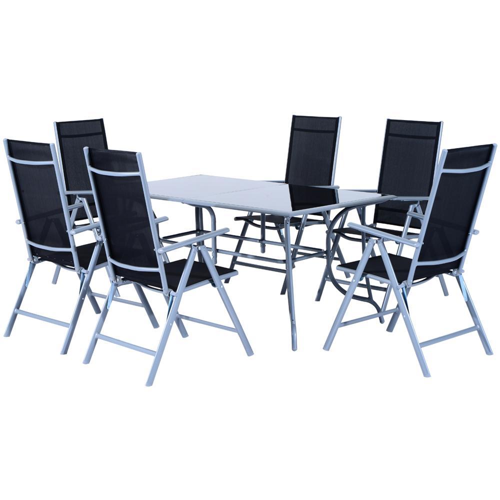 Tavolo Giardino Ferro Pieghevole.Outsunny Tavolo Da Esterno Con 6 Sedie Pieghevoli In Ferro E