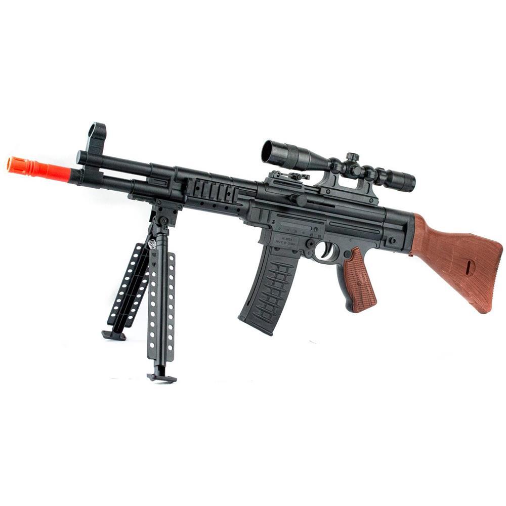 Fucile di precisione 101293 a pallini AK338 BB 6mm con cavalletto e mirino Laser
