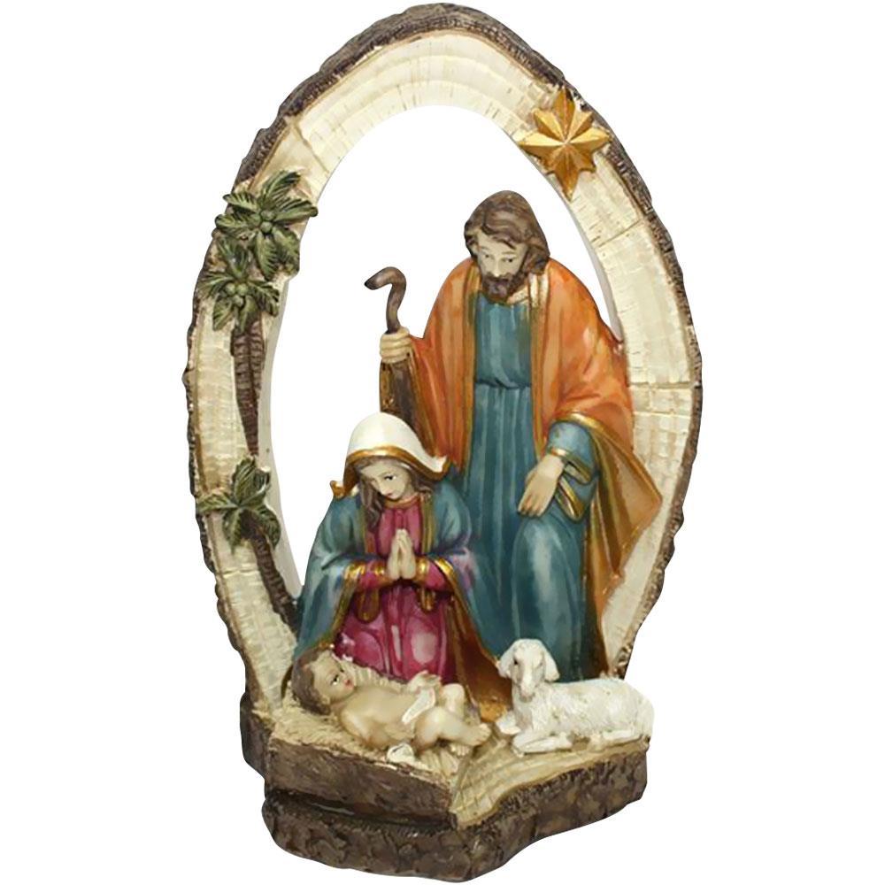 Immagini Natalizie Sacre.Bakaji Presepe Sacra Famiglia Con Arco In Resina Altezza 21 5cm Decorazioni Natalizie
