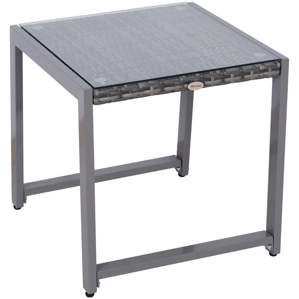 Tavolino Rattan Da Giardino.Outsunny Tavolo Da Giardino Patio In Alluminio E Pe Rattan