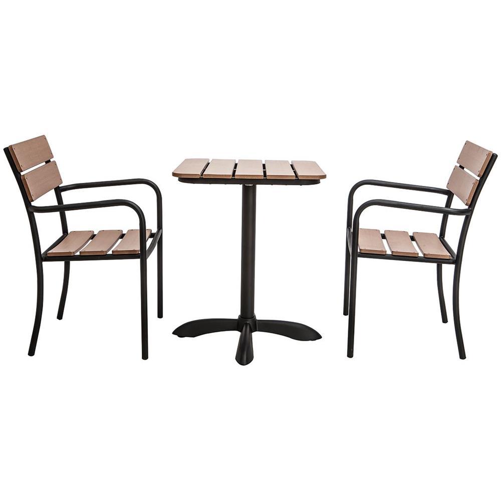 Tavolo In Legno Con Sedie Da Giardino.Miliboo Salotto Da Giardino Con Tavolo Bistrot E 2 Sedie Nere E