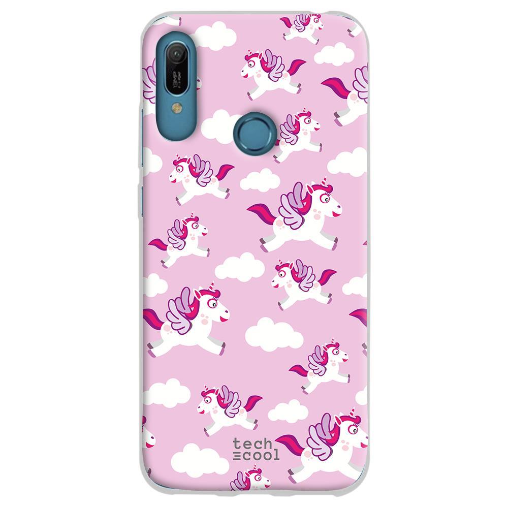 TECHCOOL Custodia Per Huawei Y6 2019 / Honor 8a L Cover Silicone Unicorni Rosa