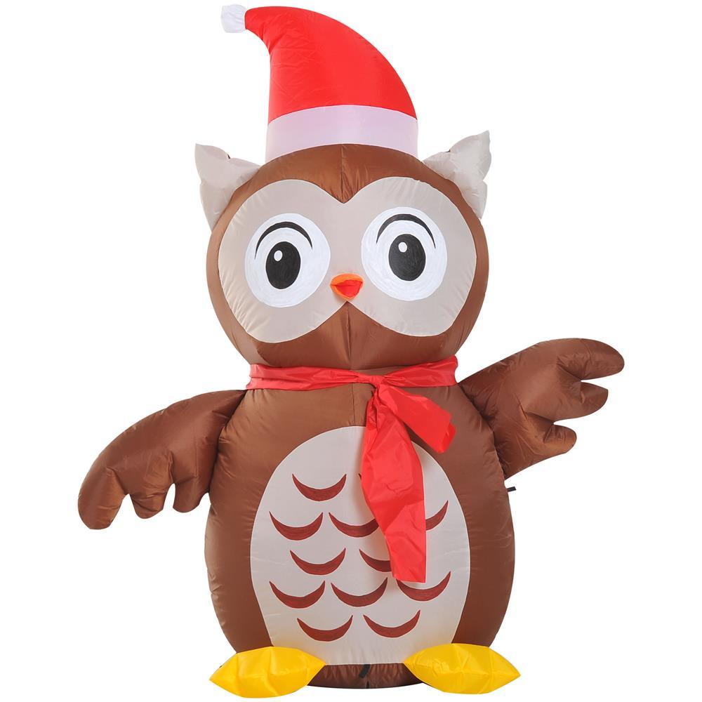 Decorazioni Natalizie Gonfiabili.Homcom Decorazione Natale Gufo Gonfiabile Gigante Luminoso