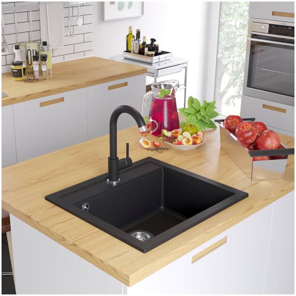 Lavelli Cucina In Granito.Vidaxl Lavello Da Cucina In Granito Vasca Singola Nero Eprice