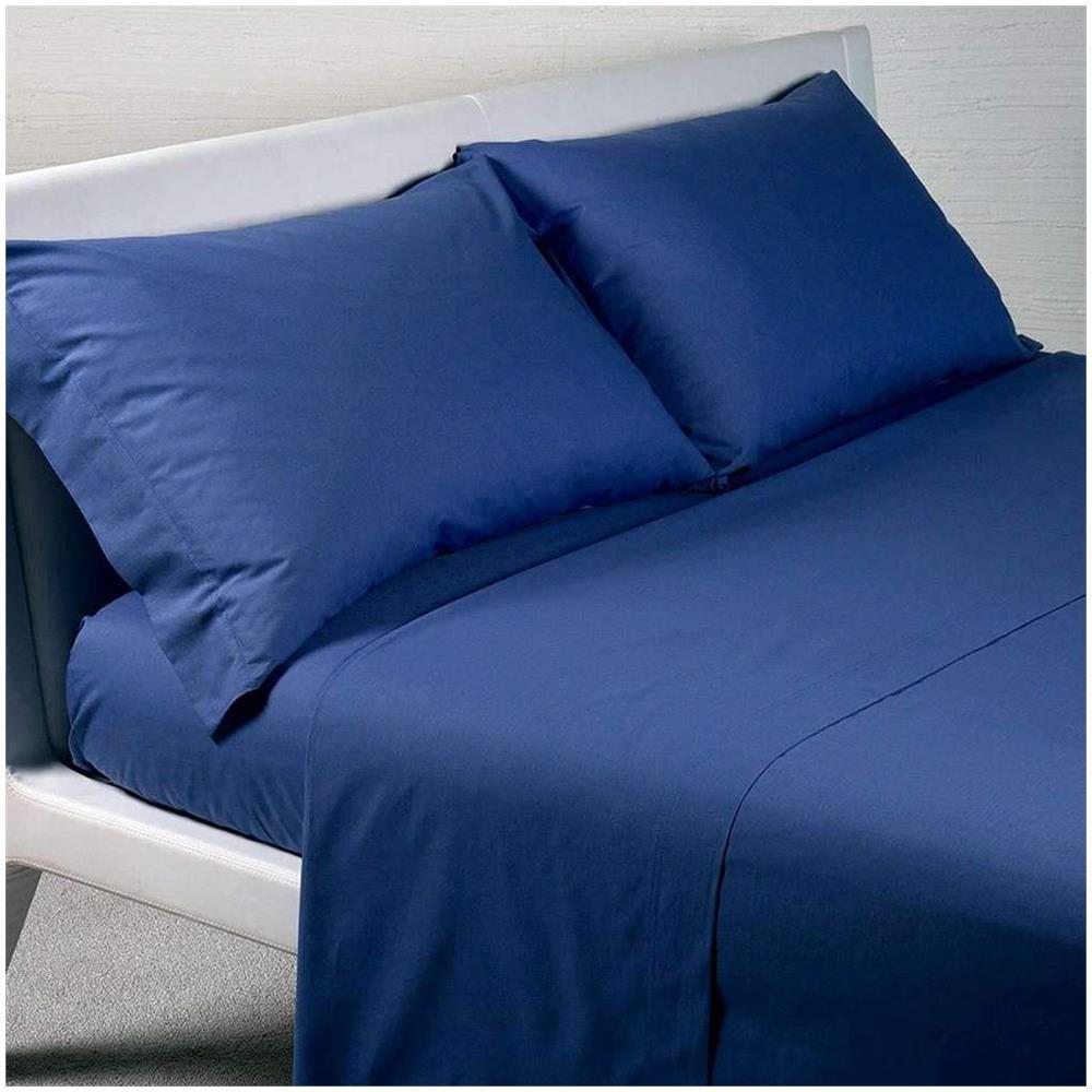 nuovo concetto più economico nuovo di zecca CALEFFI Completo Lenzuola Tinta Unita Letto 1 Piazza E Mezza Cotone Colore  Blu
