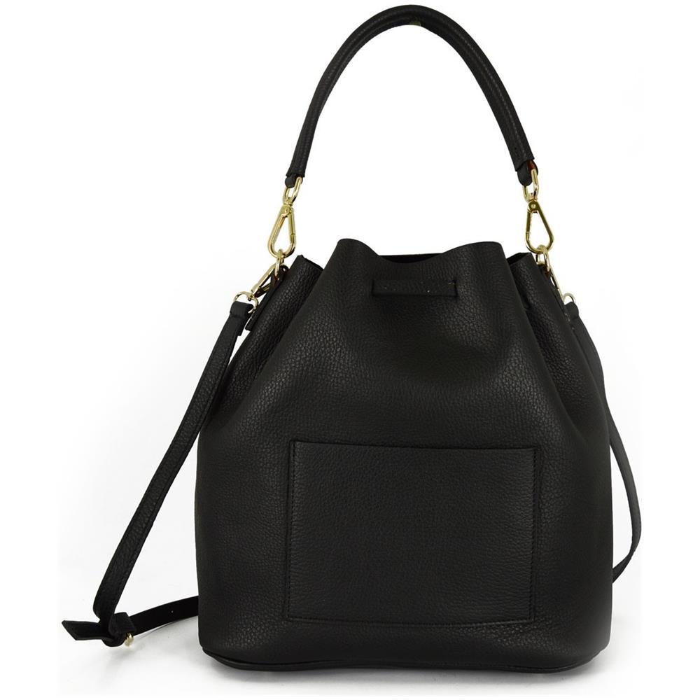 Dream Leather Bags Borsa A Secchiello In Vera Pelle Con Chiusura Con Coulisse ? Patricia Colore Nero Pelletteria Toscana Made In Italy Borsa Donna