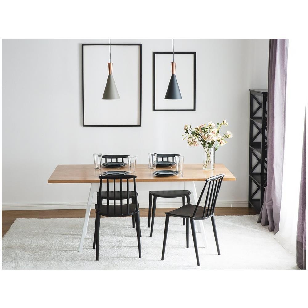 Beliani - Tavolo Da Pranzo Bianco In Legno E Metallo 180cm Flow - ePRICE