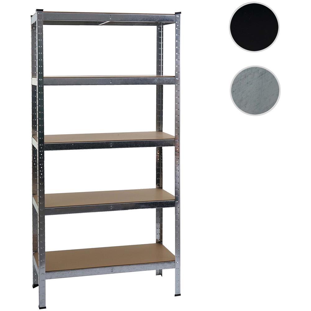 Libreria Profondità 15 Cm mendler scaffale officina ufficio garage hwc-e33 metallo mdf 5x ripiani  colore zincato